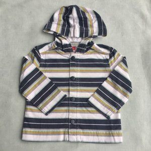 Tea Collection blue green striped hooded jacket